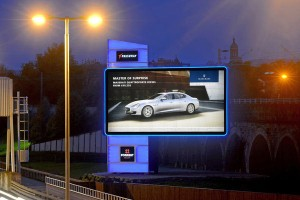 LED backlit advertising tower
