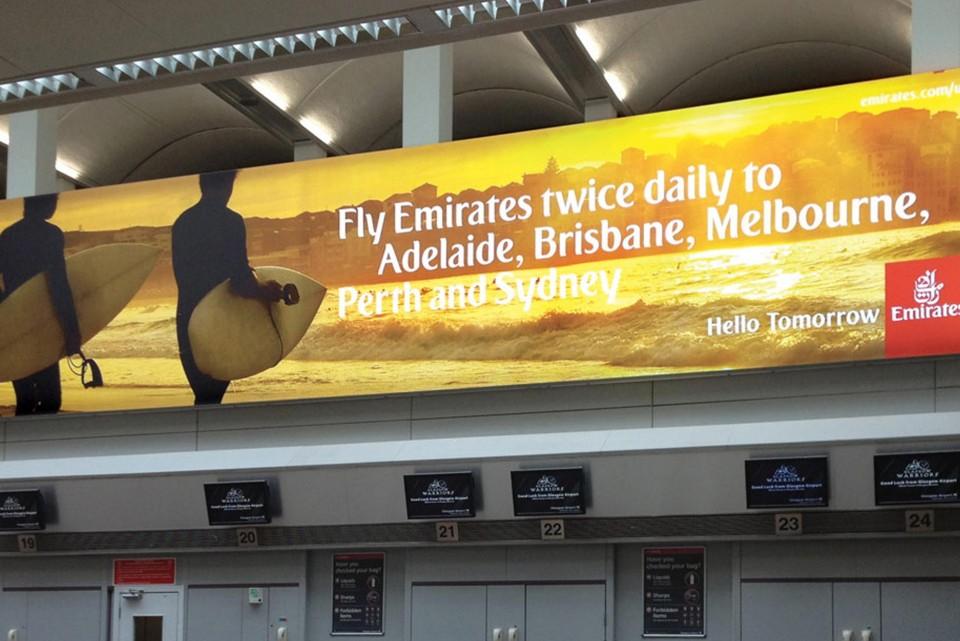 Illuminated airport signage