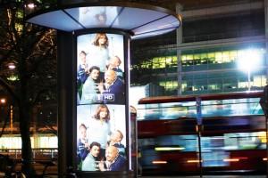 LED lit advertising columns