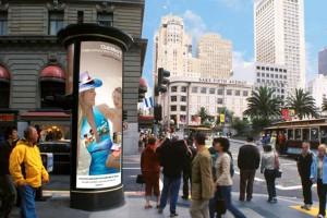 Illuminated advertising kiosks