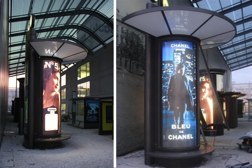 LED lit advertising columns
