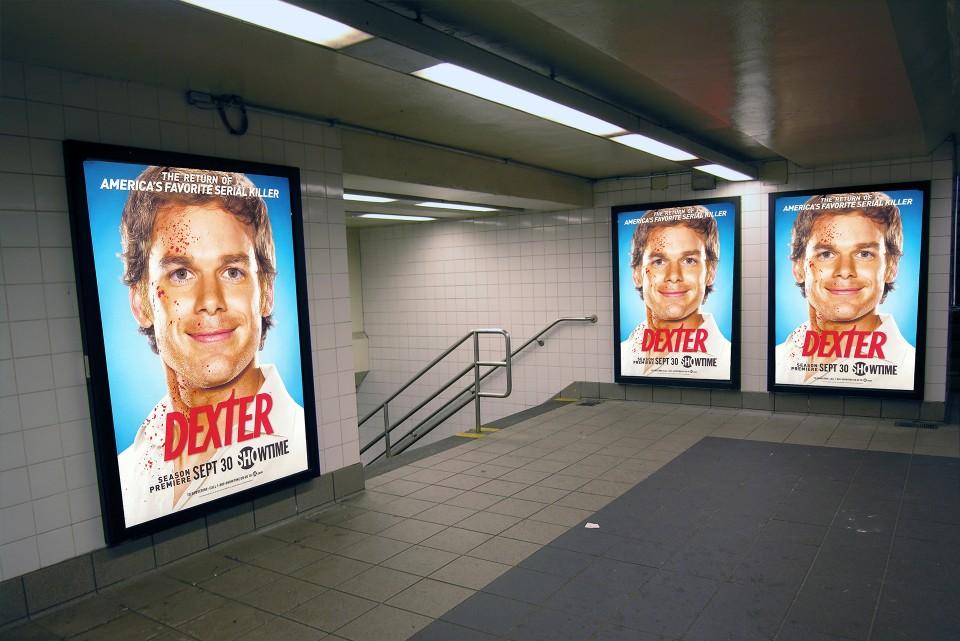 Lit underground poster cases