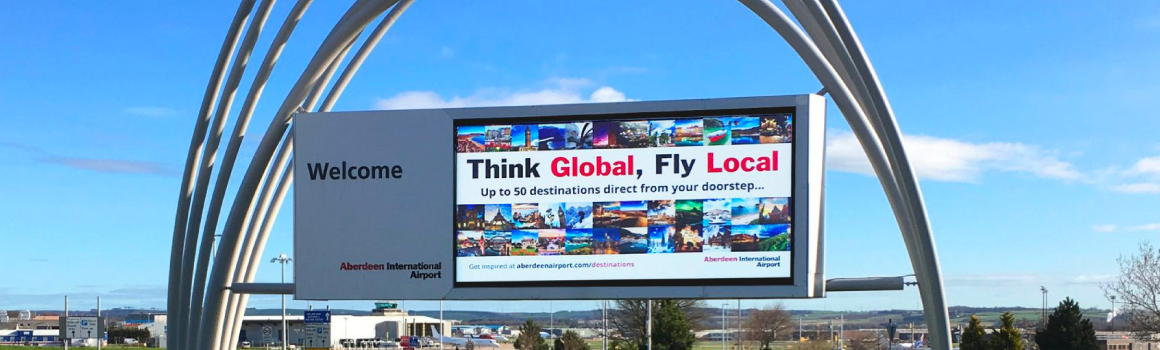 LED backlit advertising – Aberdeen airport