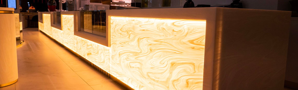 Backlit Art Deco bar